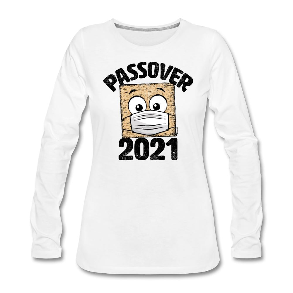 Passover 2021 Matzah Cracker with Mask Women's Premium Long Sleeve T-Shirt - white