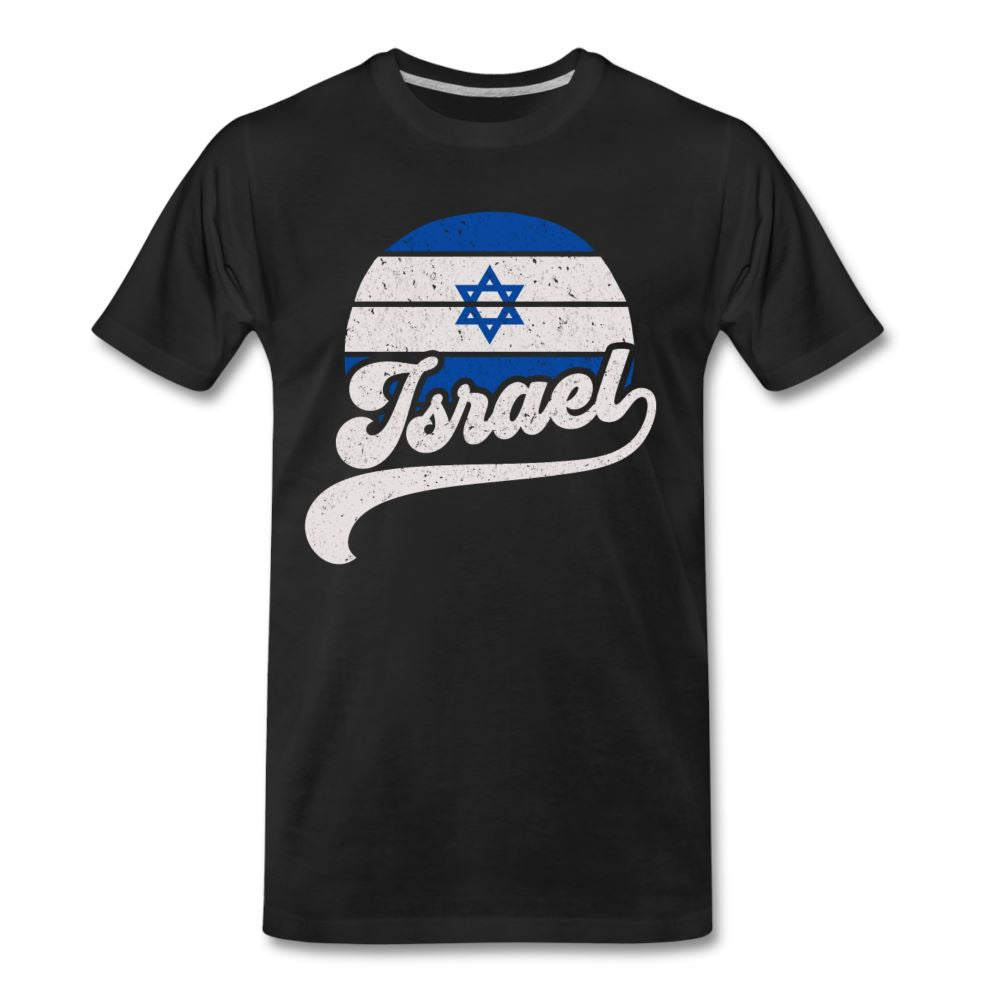 Retro Israeli Flag Men's Premium T-Shirt - black