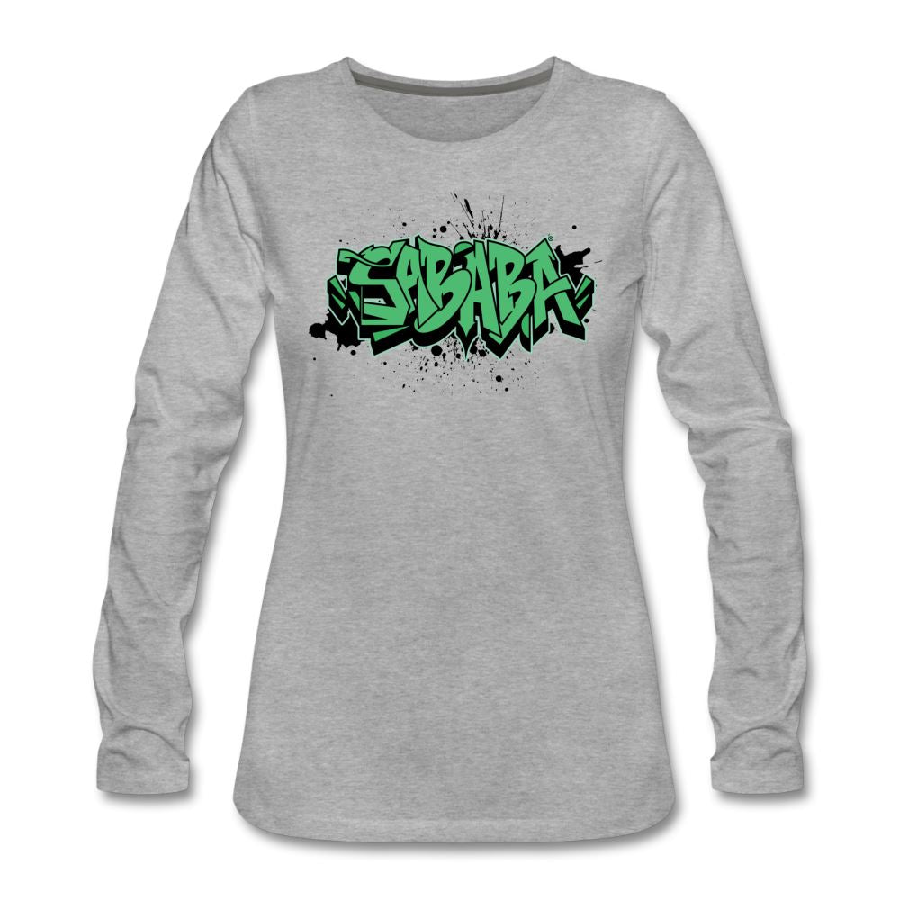 SABABA® Graffiti Women's Premium Long Sleeve T-Shirt - heather gray
