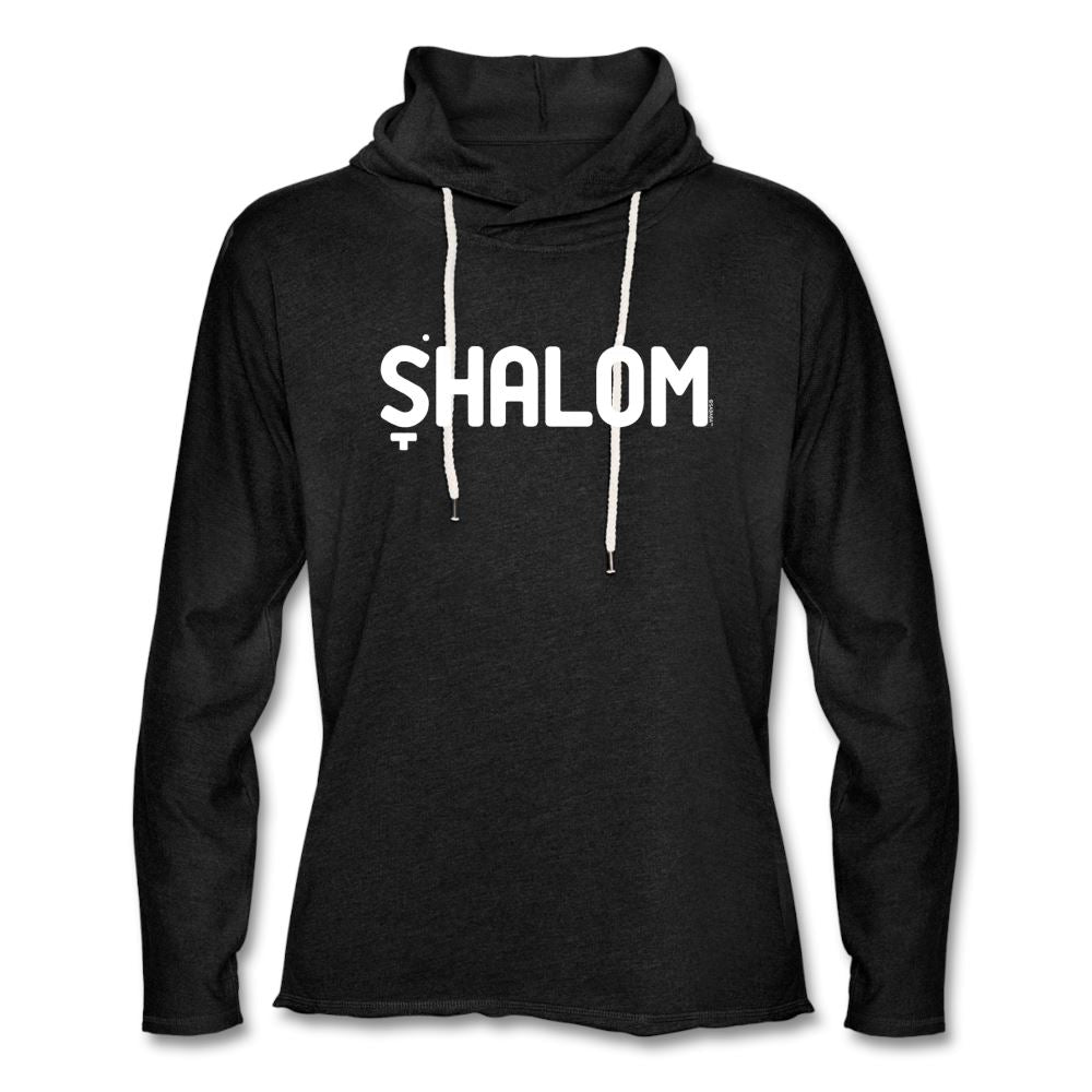 Shalom Hebrew Nikud Unisex Lightweight Terry Hoodie - charcoal gray