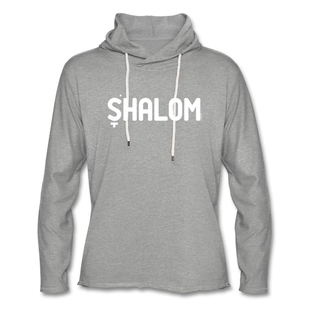 Shalom Hebrew Nikud Unisex Lightweight Terry Hoodie - heather gray