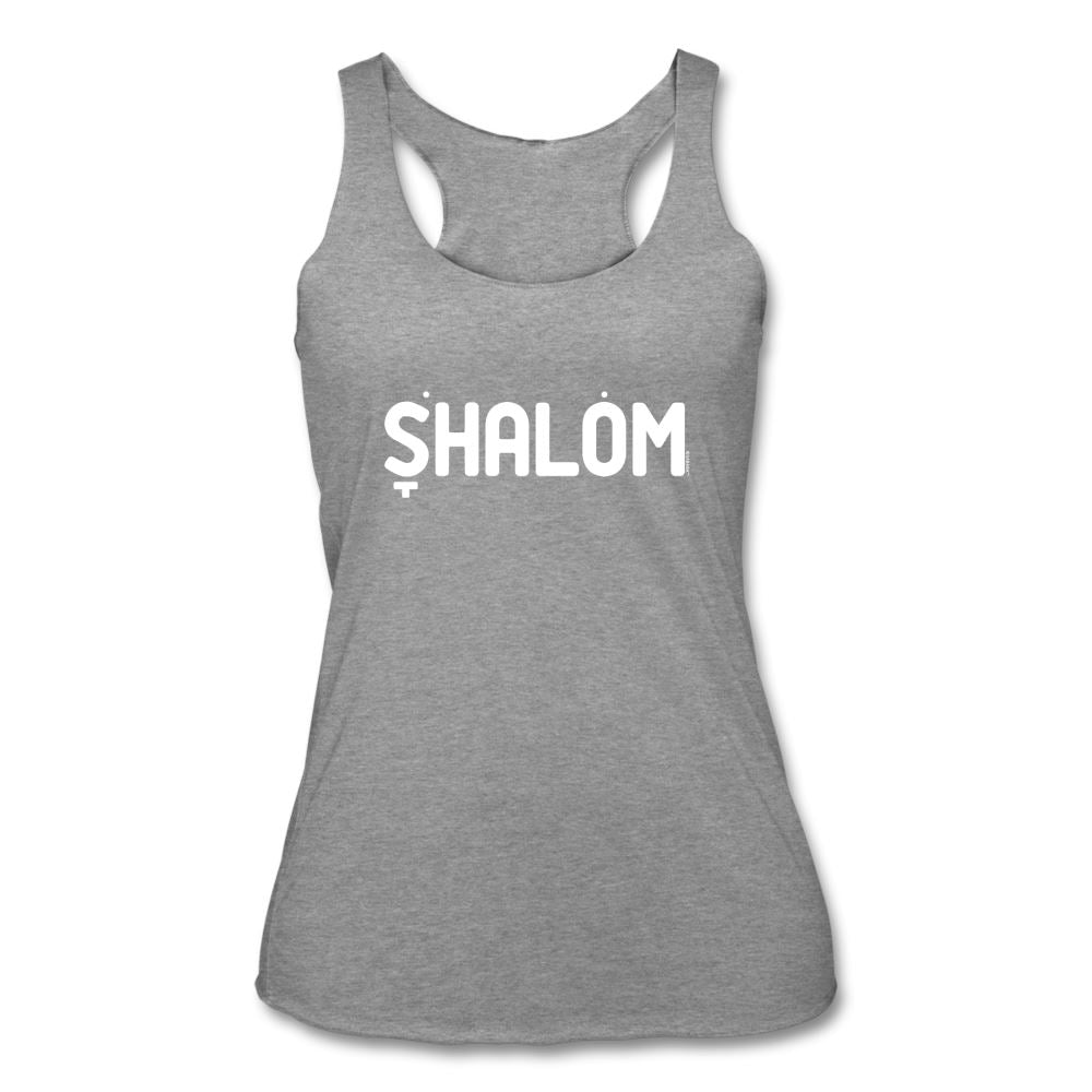 Shalom Hebrew Nikud Women's Tri-Blend Racerback Tank - heather gray