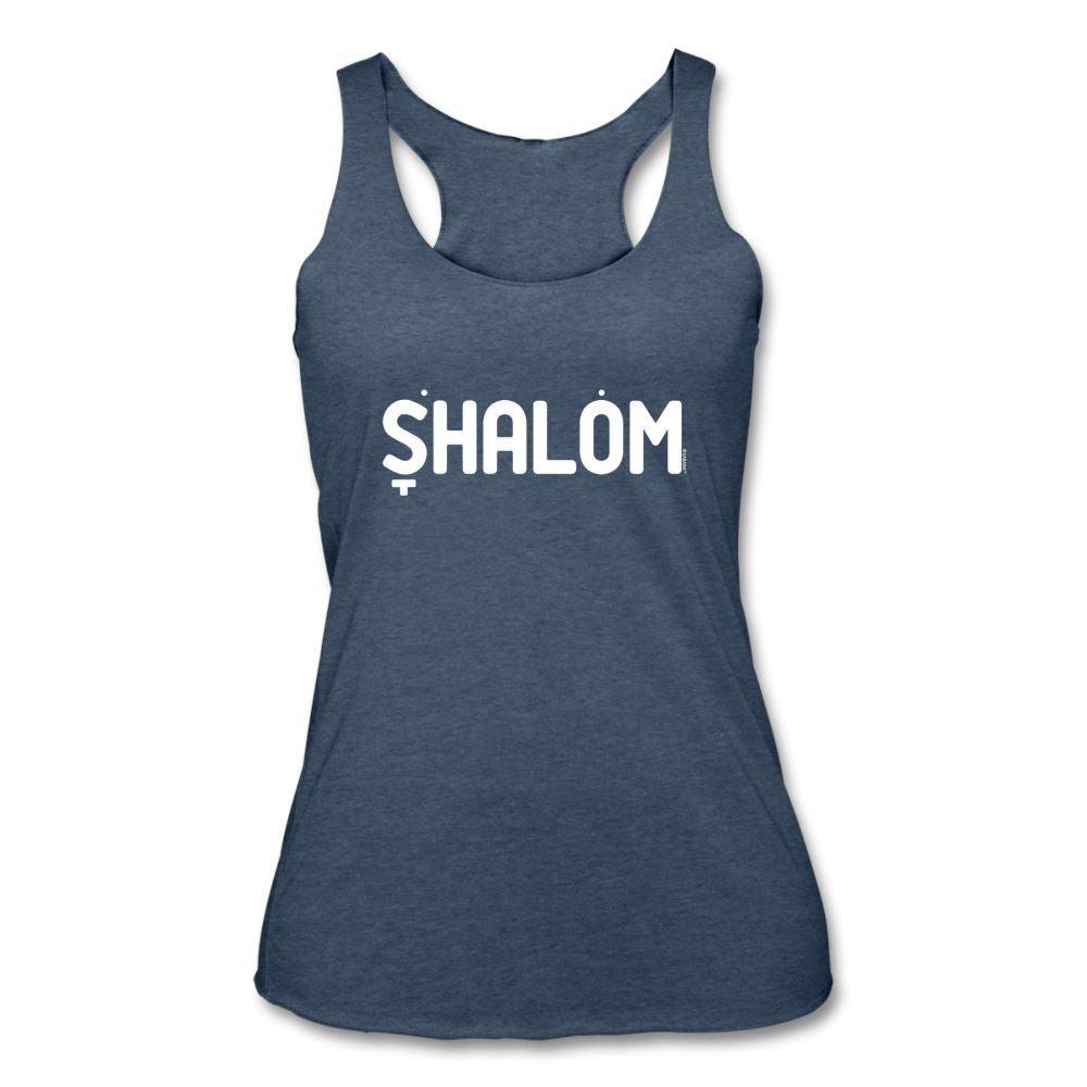 Shalom Hebrew Nikud Women's Tri-Blend Racerback Tank - heather navy