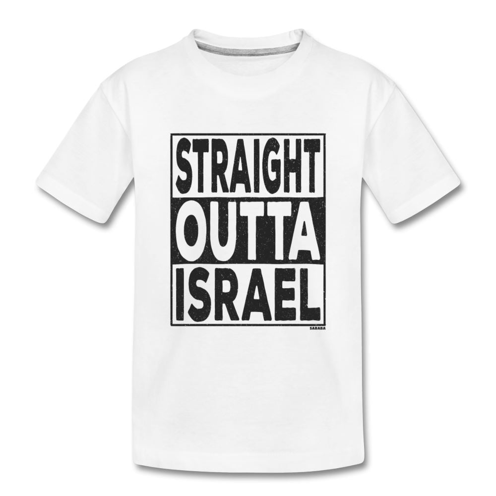 Straight Outta Israel Kids' Premium T-Shirt - white