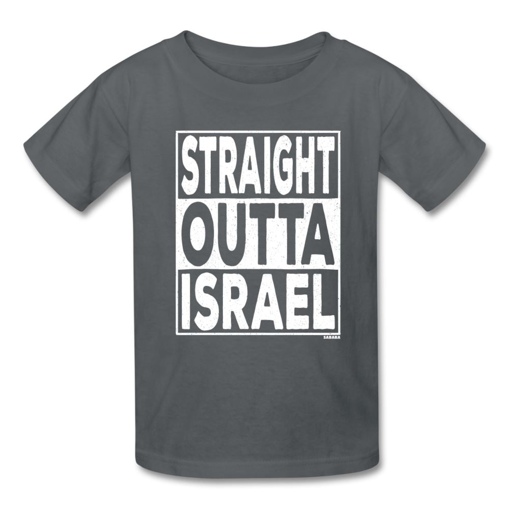 Straight Outta Israel Kids' T-Shirt - charcoal