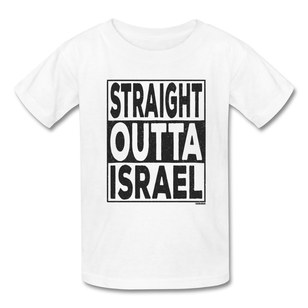 Straight Outta Israel Kids' T-Shirt - white