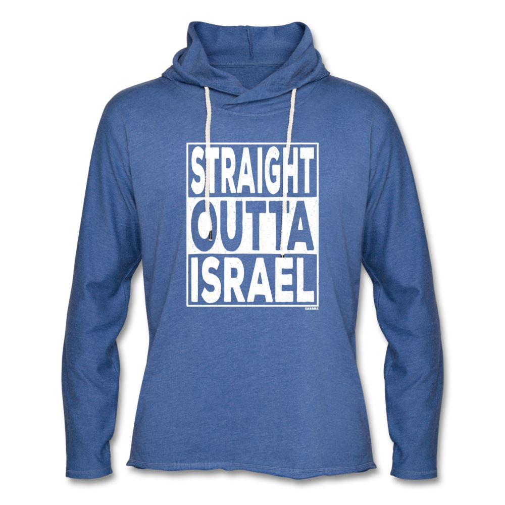 Straight Outta Israel Unisex Lightweight Hoodie - heather Blue