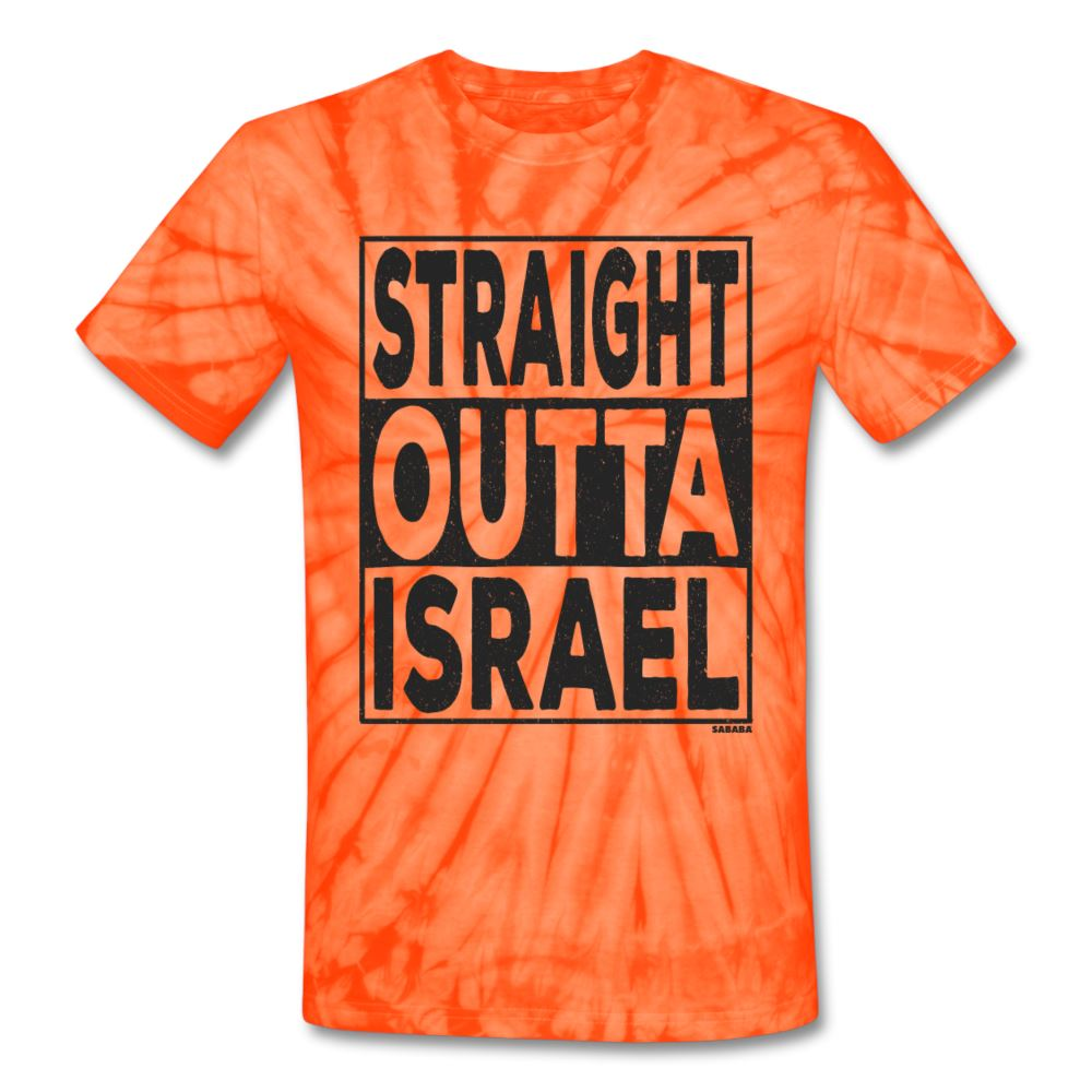 Straight Outta Israel Unisex Tie Dye T-Shirt - spider orange
