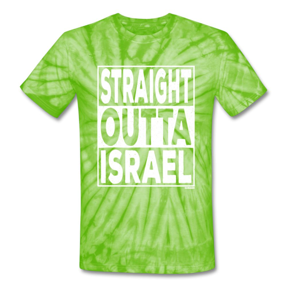 Straight Outta Israel Unisex Tie Dye T-Shirt - spider lime green