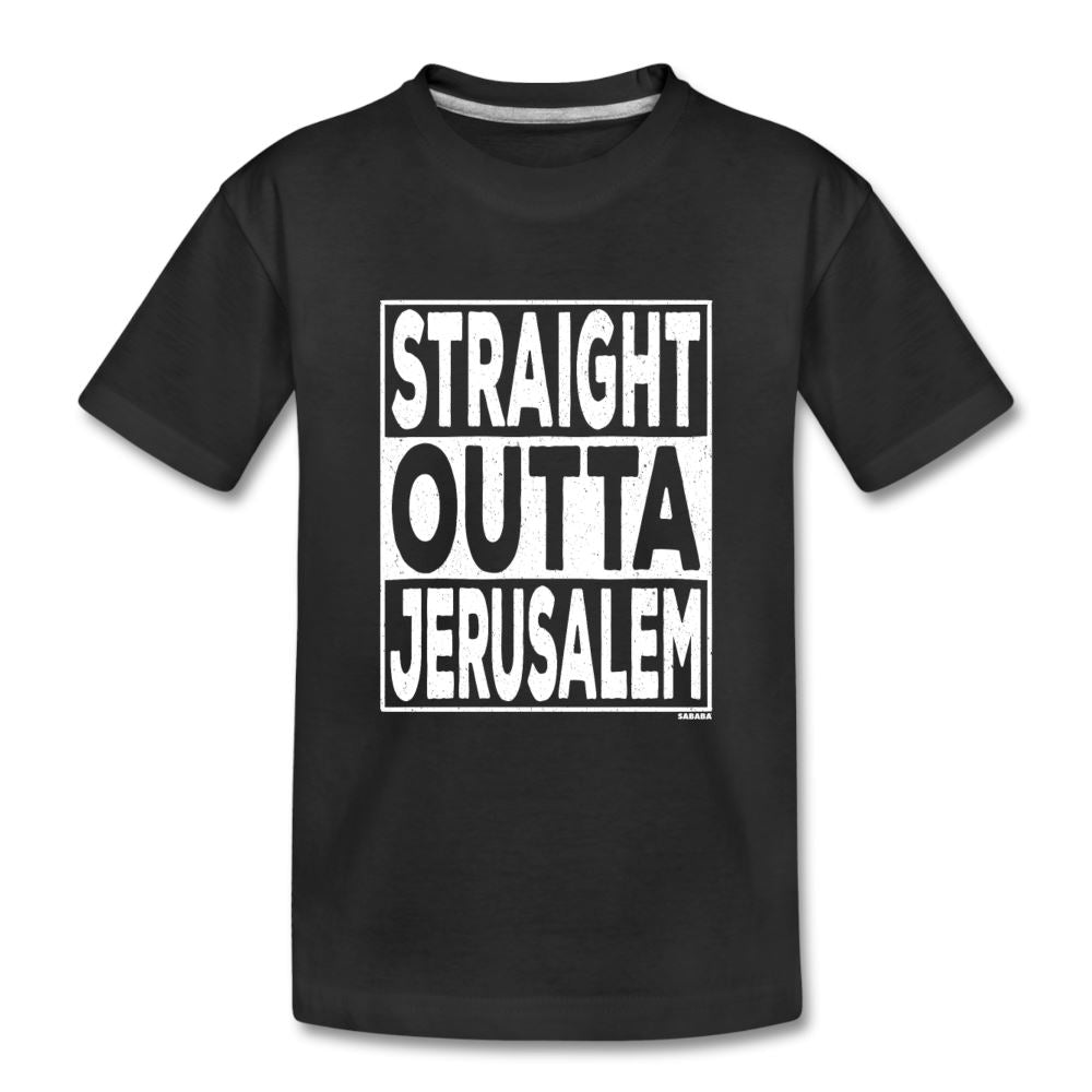 Straight Outta Jerusalem Kids' Premium T-Shirt - black