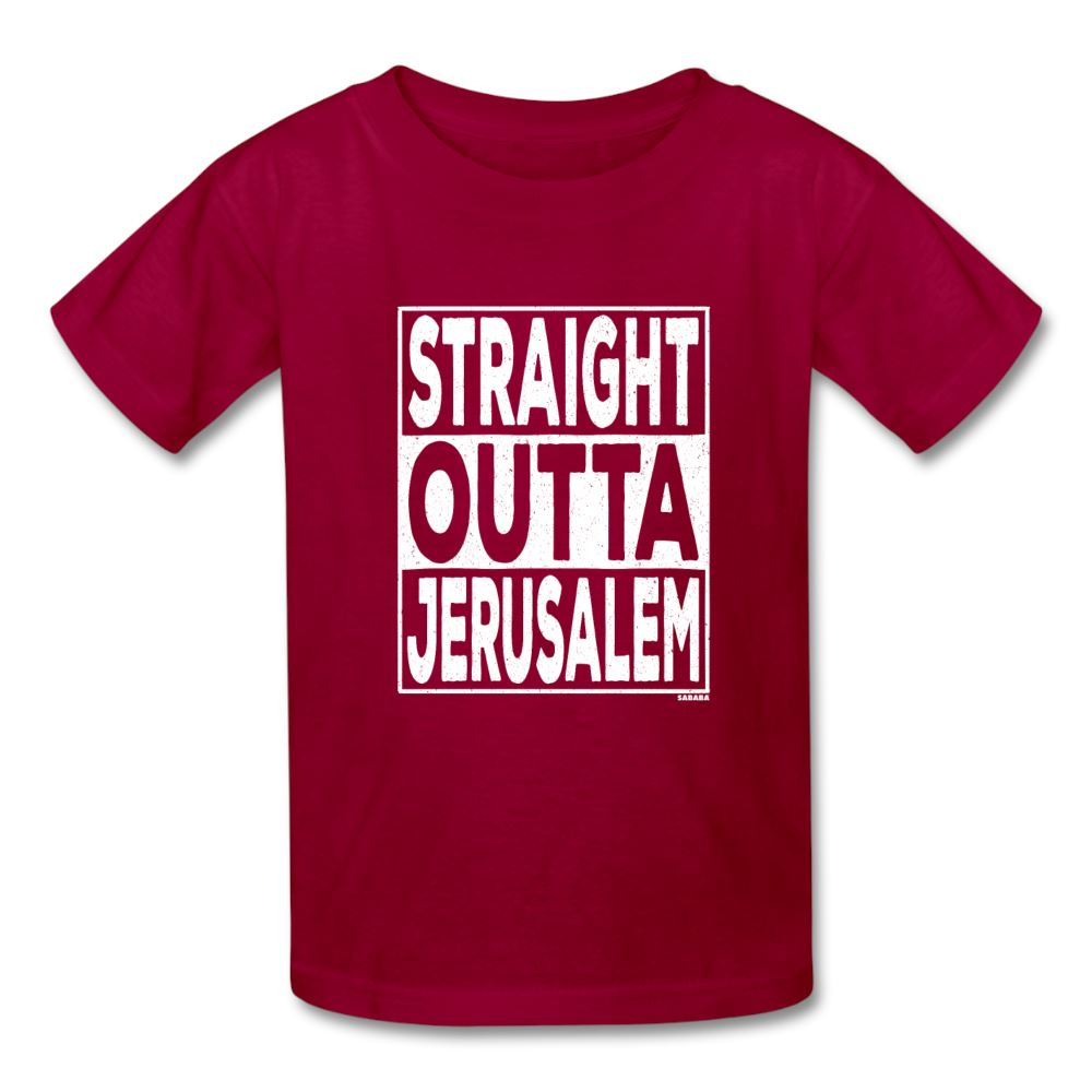 Straight Outta Jerusalem Kids' T-Shirt - dark red