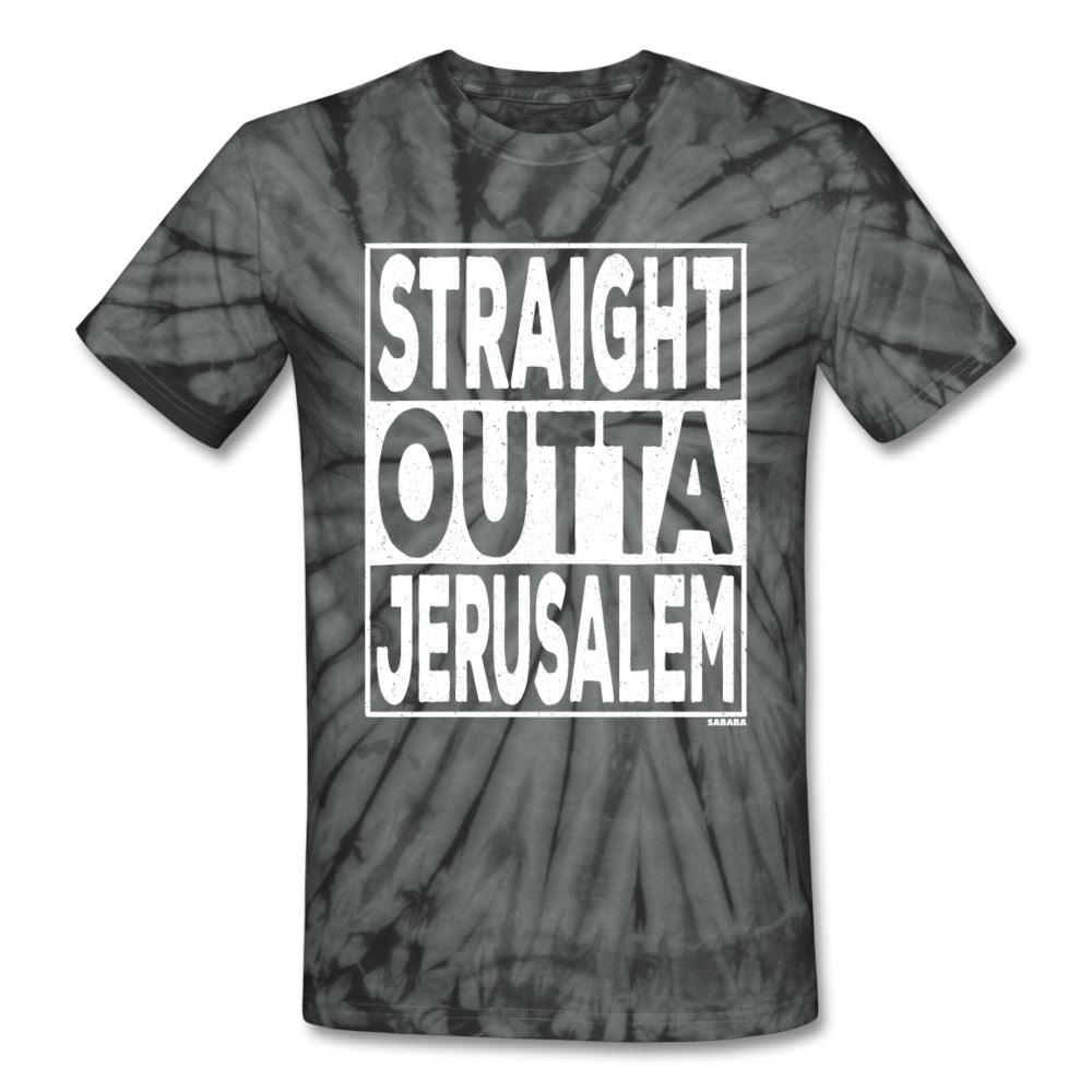 Straight Outta Jerusalem Unisex Tie Dye T-Shirt - spider black