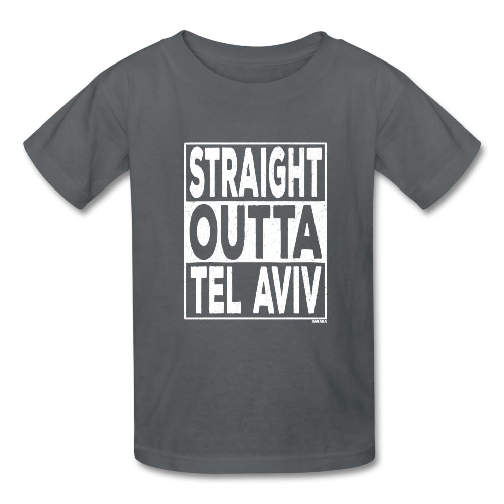 Straight Outta Tel Aviv Kids' T-Shirt - charcoal