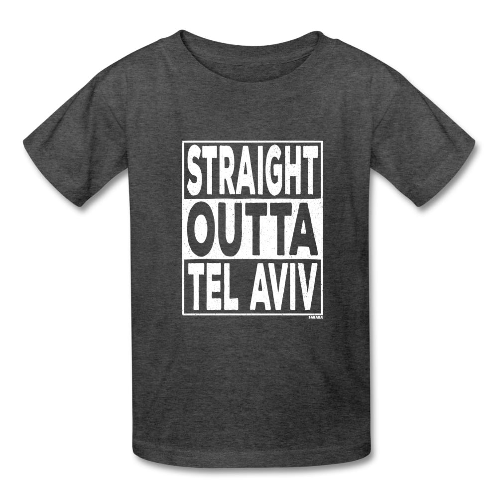 Straight Outta Tel Aviv Kids' T-Shirt - heather black