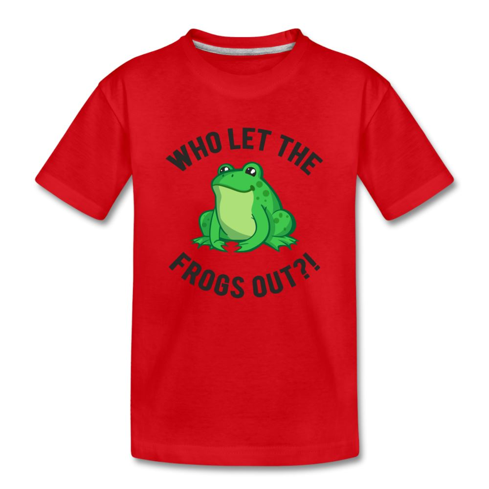 Who Let The Frogs Out?! Passover Kids' Premium T-Shirt - red