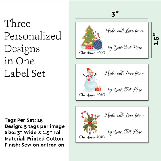 Cotton Large Christmas Sampler Fill in tags custom fabric labels for handmade items