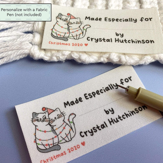 Cotton Christmas Cats Fill in Tags custom fabric labels for handmade items