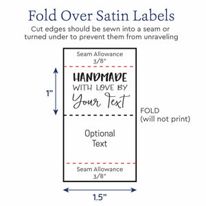 "Satin Modern Text Satin Tags, 1.5"" Ribbon custom shirt tags"