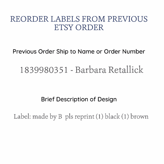 PPLR_HIDDEN_PRODUCT Reorder Cotton Labels Previously Purchased on Etsy