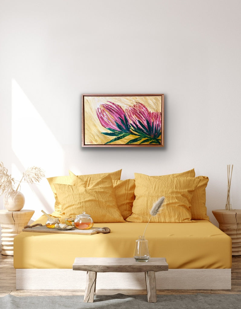 BLUSHING  BLOOMS (Vic Ash floating frame) -SOLD-