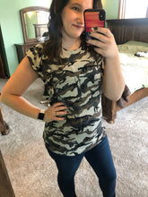 Load image into Gallery viewer, Ruffled Camo Tee