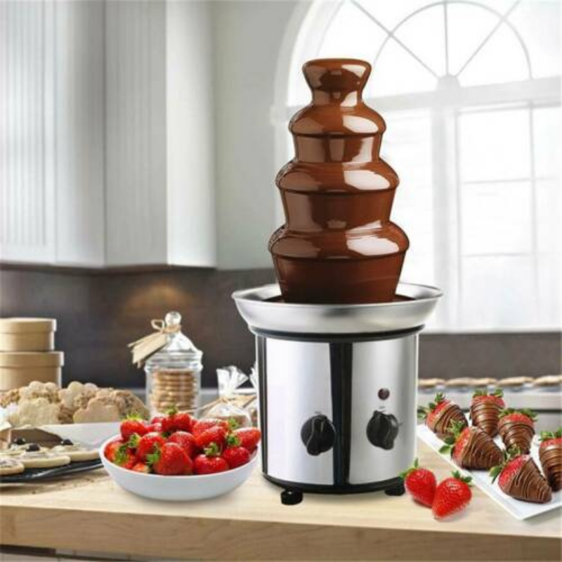 4 Tier Chocolate Fondue Fountain Stainless Steel Machine - Daniels Store