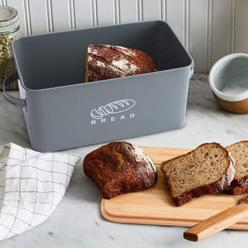 Premium Large Black Metal Bread Holder Storage Box - Daniels Store