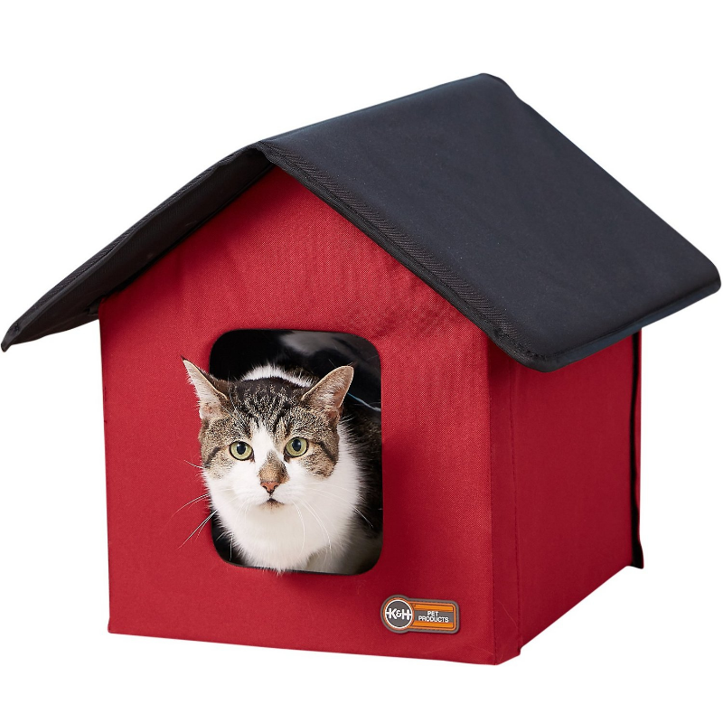 Large Indoor / Outdoor Heated Red Cat House - Daniels Store