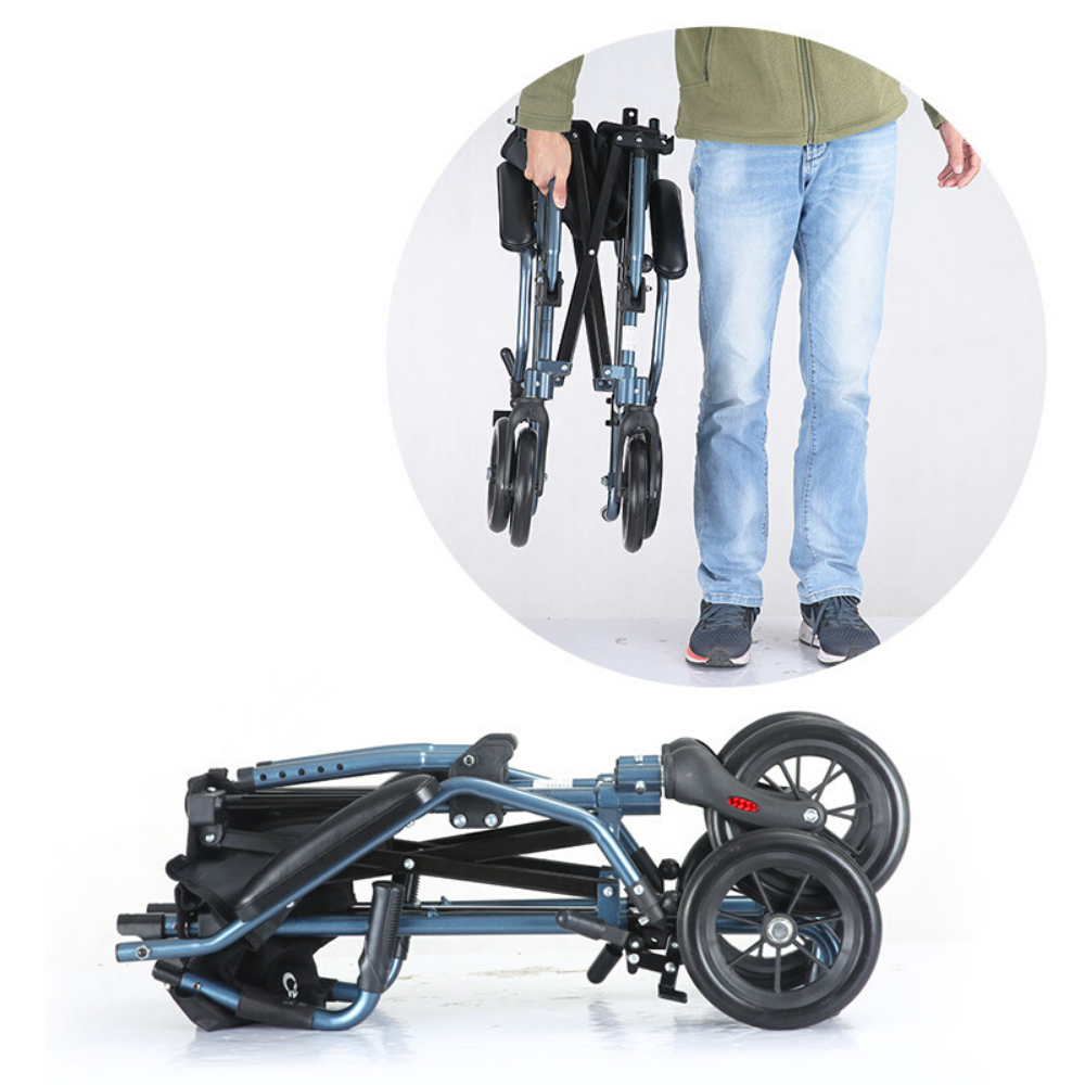 Premium Portable Foldable Heavy Duty Transport Wheelchair Lightweight - Daniels Store