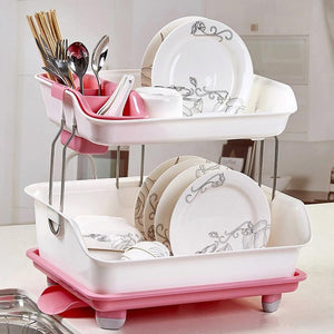 Compact 2 Tier Kitchen Dish Drying Drainer Rack - Daniels Store