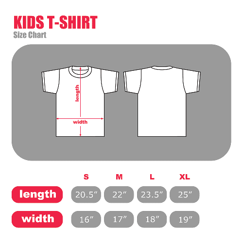 Textual Tees Kid's T-Shirt Size Chart