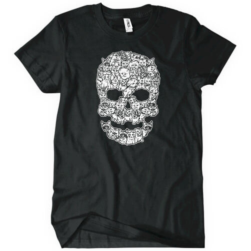 Cat Skull T-Shirt Mens T-Shirt - Textual Tees