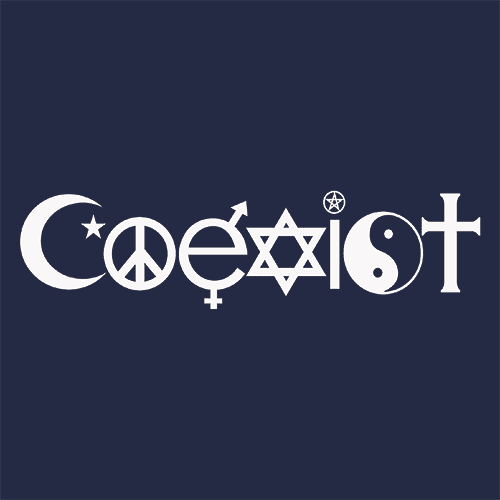 Coexist T Shirt The Worlds Religions Textual Tees