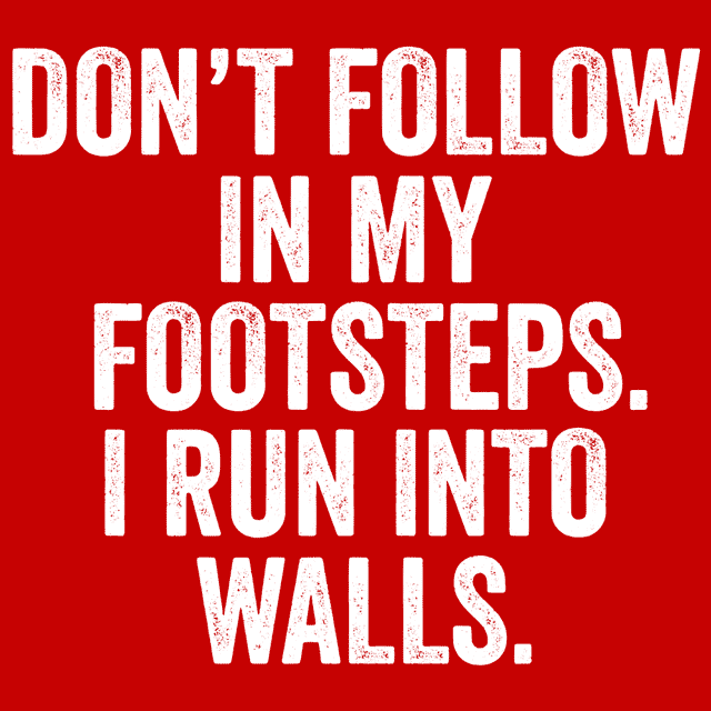 Don't Follow In My Footsteps I Run Into Walls