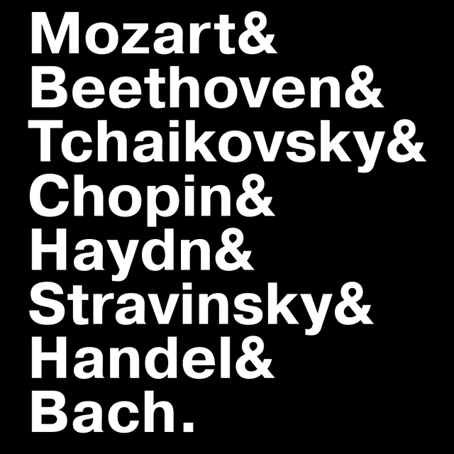 Famous Classical Composers Names T-Shirts - Textual Tees