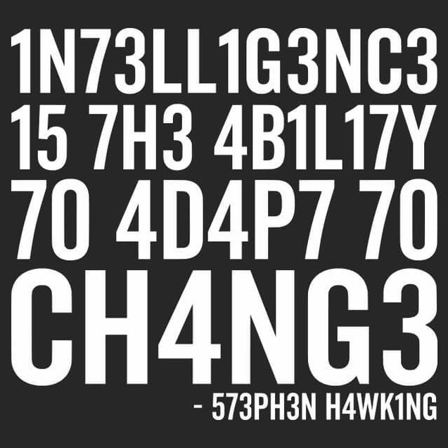 Intelligence Stephen Hawking Mens T-Shirt Mens T-Shirt - Textual Tees