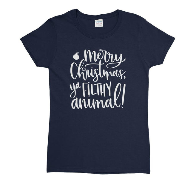 Merry Christmas Ya Filthy Animal Womens T-Shirt Womens T-Shirt - Textual Tees