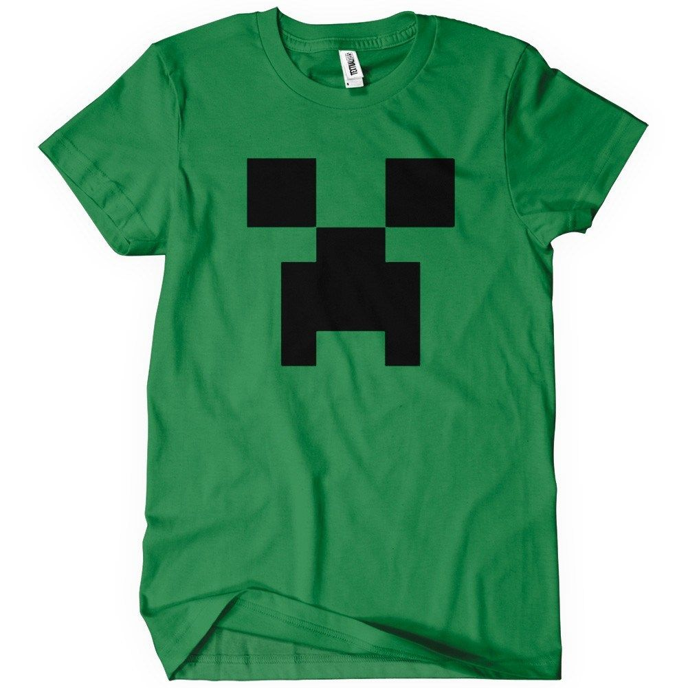 Creeper t shirt funny gamer minecraft tee textual tees for Custom t shirt next day delivery