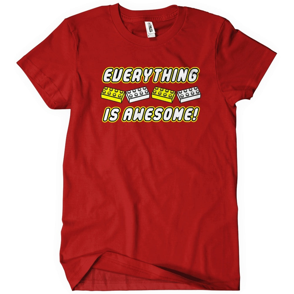 Everything is awesome t shirt funny lego textual tees for Custom t shirt next day delivery