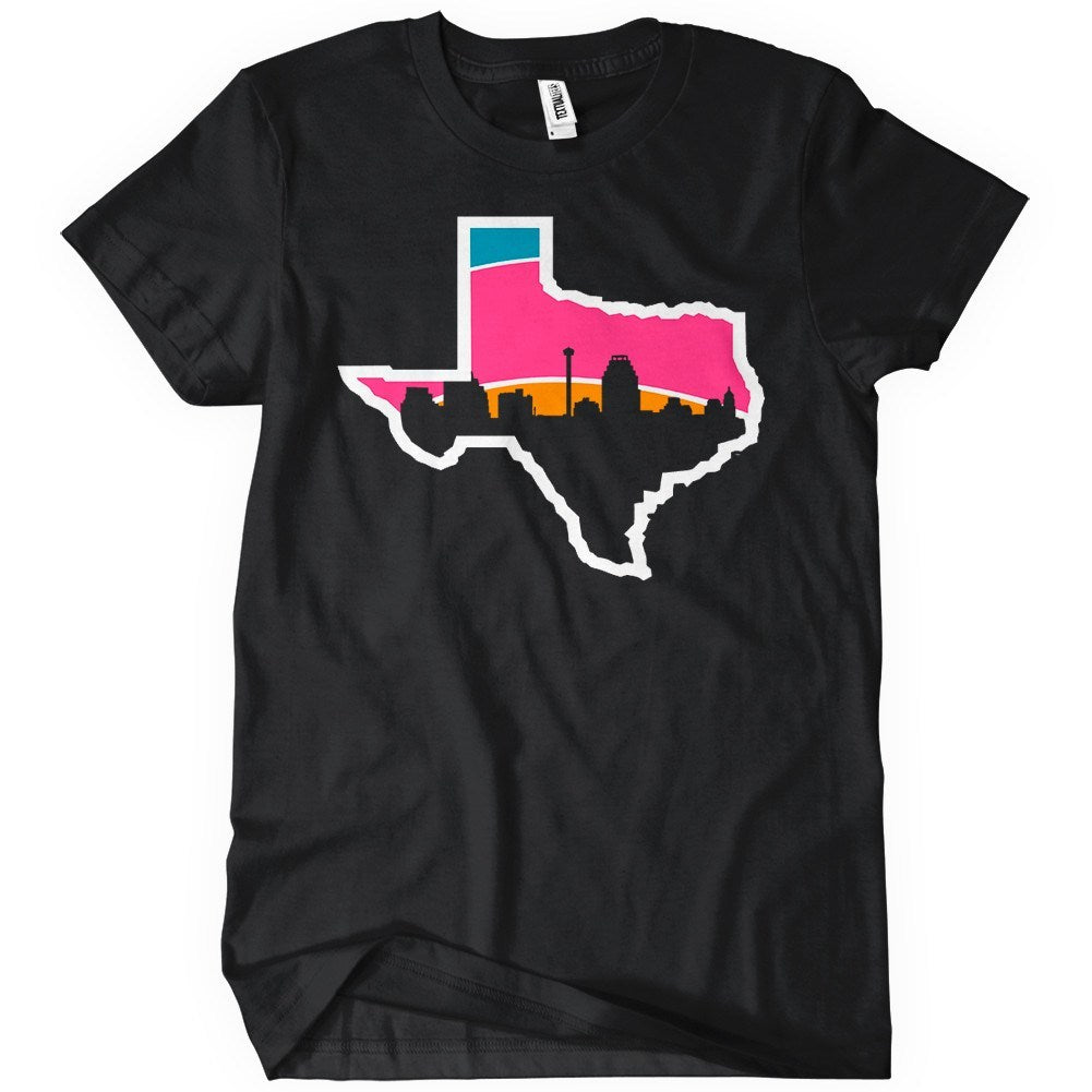 San antonio skyline t shirt sports apparel textual tees for Custom t shirt printing san antonio