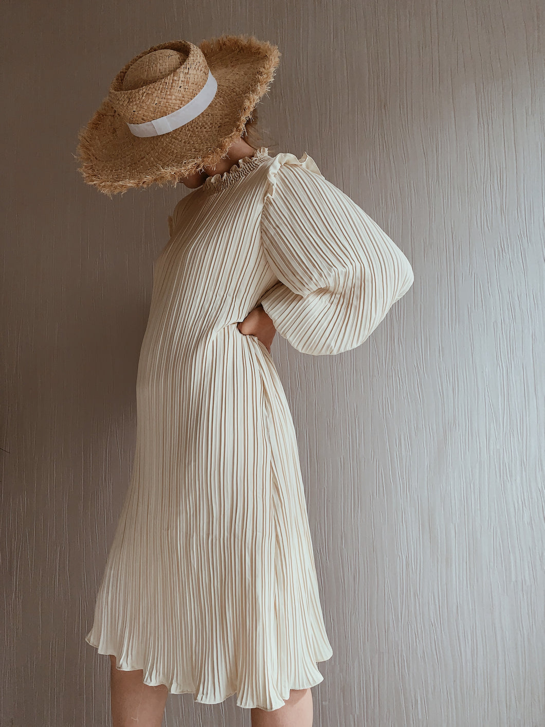 Stella Cream Pleated Dress