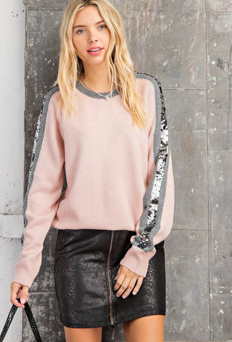 Color Block Sequin Stripe Sweater