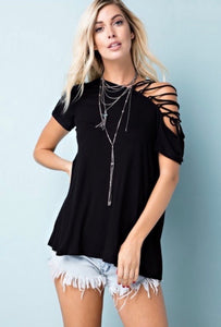Open Shoulder Lace Up Top *FINAL SALE*