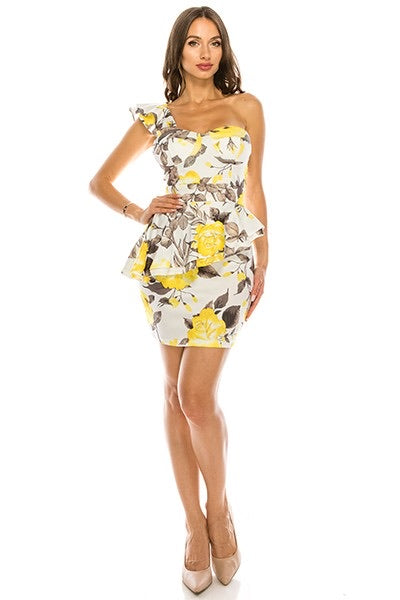 Floral One Shoulder Ruffle Dress