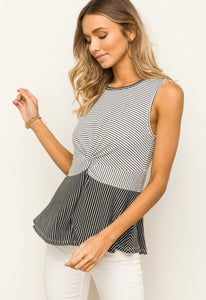 Striped Front Twist Tank