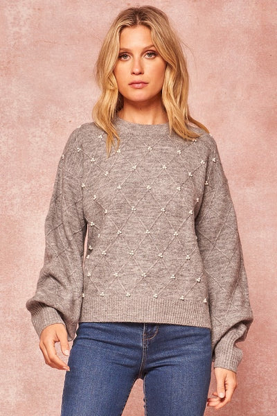 Pearl Detail Cable Knit Sweater