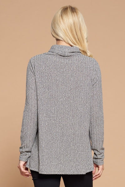 Side Suede Turtleneck