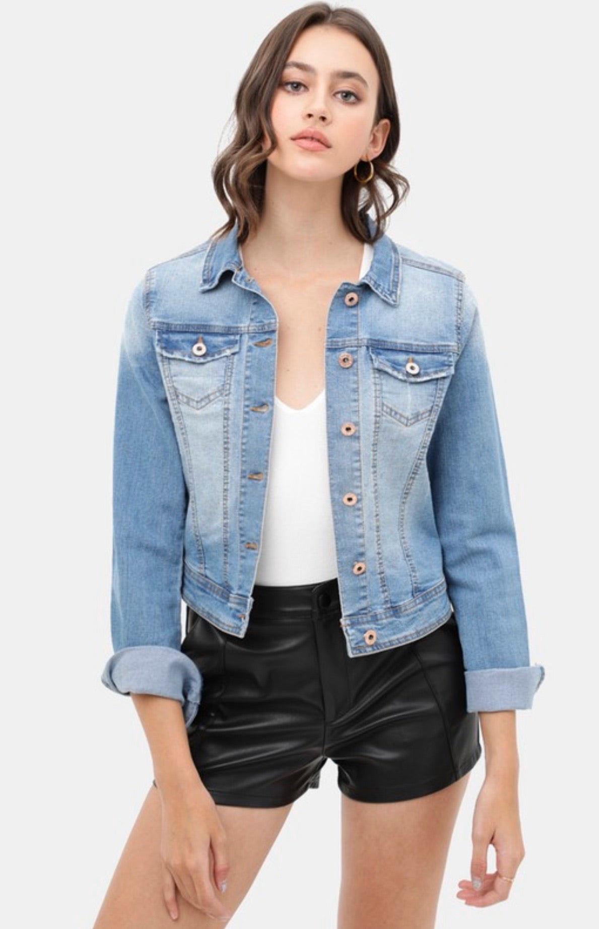 Light Wash Crop Denim Jacket