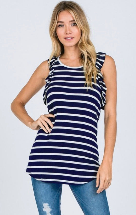 Ruffled Striped Tank Top