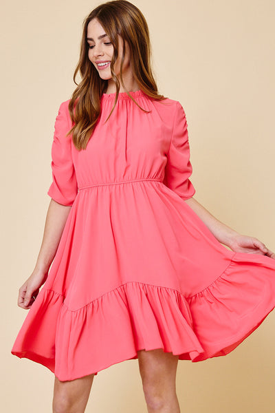 Ruched Half Sleeve Ruffle Hem Dress